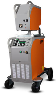 MIG MAG impuls welding machine MEGA.PULS FOCUS with 230 Amp, gas cooling and wire feed case