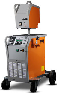 MIG / MAG pulse welding machine SYNERGIC.PULS with 430 Amp, gas cooling and wire feed case