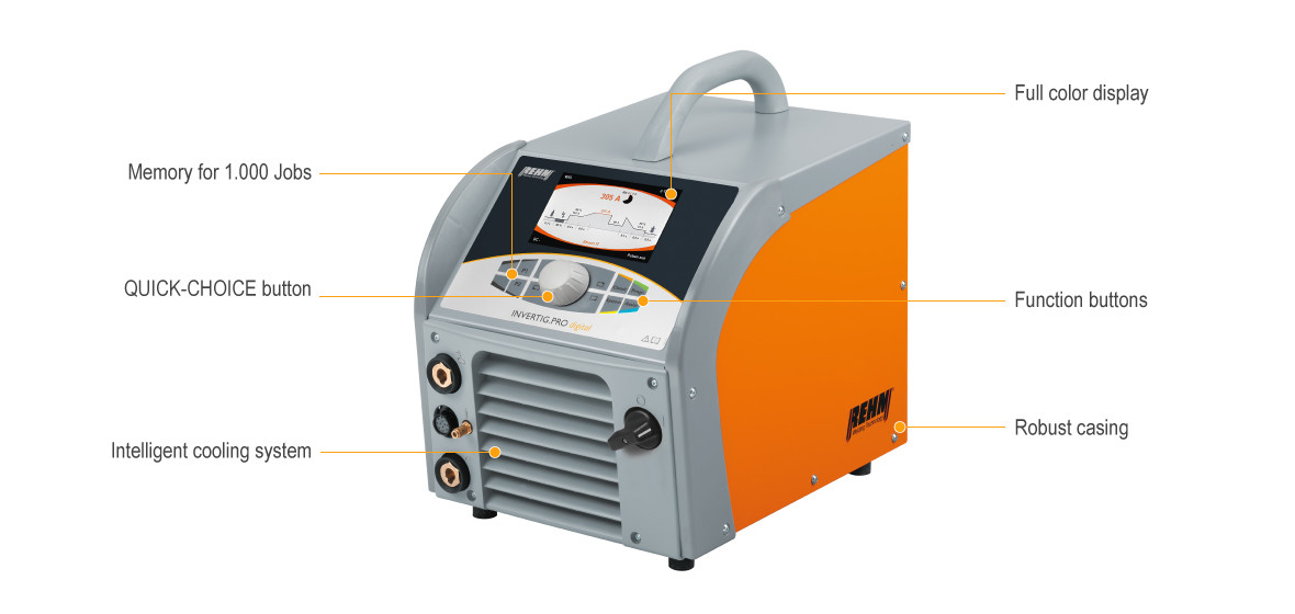 TIG welding machine INVERTIG.PRO digital with full color display